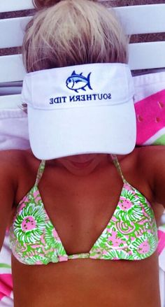 Perfectly preppy bathing suit and hat.