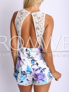 White Sleevele Backless Floral Print Lace Playsuit