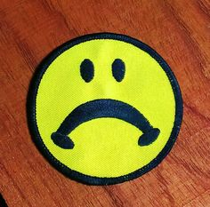 Vintage 1970's Sad Face Embroidered Patch by batchesOpatches