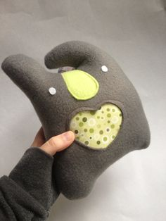 LOVEBELLY grey gray plush with lime fleece nose and by mightMIGHT, $20.00