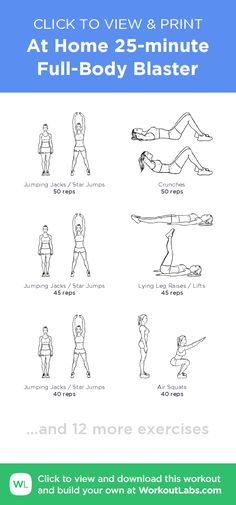 At Home 25-minute Full-Body Blaster – click to view and print this illustrated exercise plan created with #WorkoutLabsFit