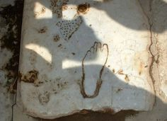 Footprint pointing the way in ancient Ephesus on the Aegean coast of Turkey