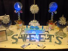 Blue & Silver Candy Buffet