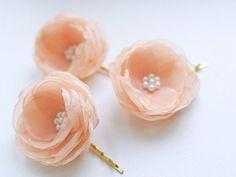 Peach Wedding Flower Hair Pins (3 pcs) - Peach Chiffon Hair Flowers - Wedding Accessories - Bridesmaids Flowers - Bridal Flowers with Pearls...