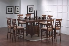 9pcs Walnut Counter Height Dining Table with Lazy Susan and 8 Stools Set - Elegant dining rooms or kitchens will be very boring if it has no table or if it has a table which do not blend with the design of your kitchen. During these days, Dining Table With Storage, Walnut Dining Table, Square Dining Tables, Table And Chair Sets, Dining Table In Kitchen, A Table, Pub Tables, Dining Area, Wood Tables