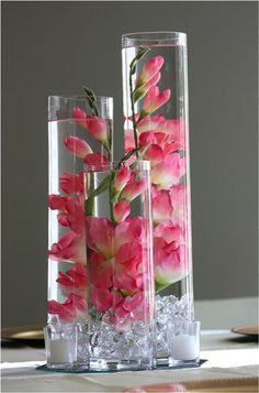 Pink Gladiolus emersed in vase Centerpieces - thefiveseasonsevents.