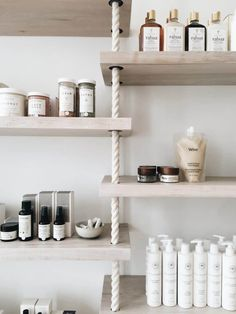 invest in a retail display to sell beauty products Decor, Small Bathroom, Beauty Salon Design, Organic Cleaning Products, Salon Retail, Salons, Wall Shelves, Retail Display, Retail Wall Displays