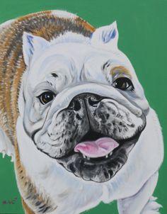 "happy bulldog 30x24"" oil on canvas by DRAGOSLAV MILIC"