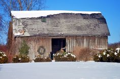 Old Weathered Barn...with a wreath.
