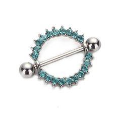 Silver-plated/Blue/Pink CZ Gem Paved Circle Nipple Shield Piercing Rings Body Piercing 14G 1Pair Nipple Piercing Body Jewelry