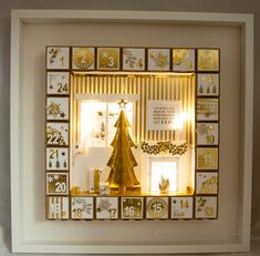 Inspiration and how to advent calendar light up All Things Christmas, Christmas Home, Handmade Christmas, Christmas Wreaths, Christmas Decorations, Stampin Up Christmas, Christmas Countdown, 3d Box Frames, Scrappy Quilts