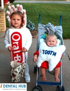 Dental humor - getting your kids to dress up as a tube of toothpaste and a little tooth!