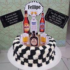 Resultado de imagem Man Birthday, Birthday Parties, Birthday Cake, Fancy Cakes, Vodka, Bakery, Deserts, Party, How To Make
