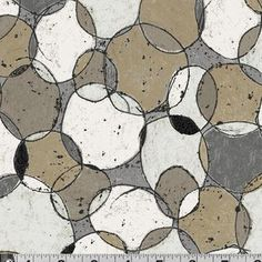 P & B Textiles House Designer - Scraffito - Overlapping Circles in Gray and Brown