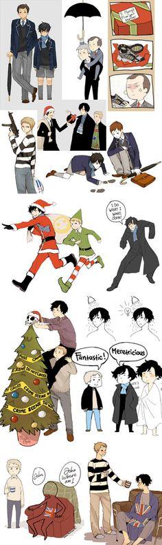 Another Sherlock sketch dump (I really like that christmas tree. I WANNA MAKE ONE!)