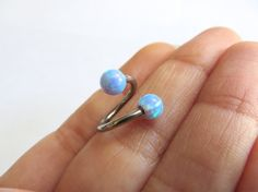 14 Gauge Blue Opal Twist Piercing Belly Button by Azeetadesigns