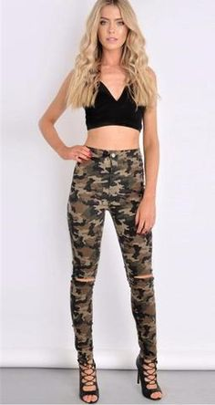 ARMY RIPED SKINNY JEANS-JEANS-modefame $39.99