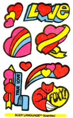 Love ... True Love ... Foxy! Mello Smello Body Language scratch and sniff sticker tattoos - 1980's