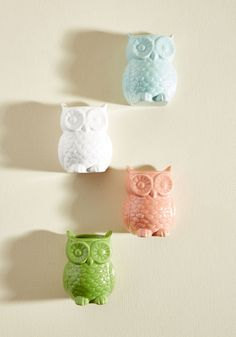 To Owl Appearances Magnetic Vase Set. As far as you can tell, these ceramic owls seem to just be adorable magnets, but they have a surprise for you! These would be perfect in my office, not for plants but for pins, markers, etc. #multi #modcloth #affiliatelink