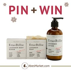 "Pin + Win Contest. Enter for your chance to this body care gift set from Etta + Billie. How to enter: 1. Go to pinterest.com/abesmarket.com & follow all Abe's Market boards by clicking ""Follow All."" 2. Repin this product from the PIN+WIN board from the Abe's Market Pinterest page. Contest ends on December 17, 2013. Winner will be announced in pin comments. Good Luck!"