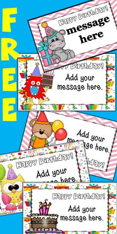 FREE Choose from 5 DIFFERENT themes of birthday cards. Perfect for helping you get ready for back to school. Teacher Resources, Teacher Pay Teachers, School Fun, Back To School, Student Incentives, 2nd Grade Math Worksheets, Classroom Ideas, Birthday Cards, Teaching