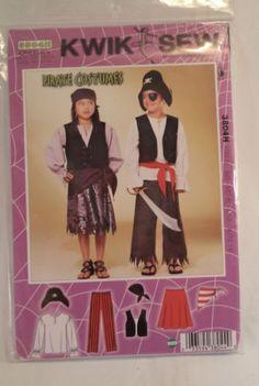 New-Kwik-Sew-Complete-Pirate-Costume-Pattern-3804H-Size-XS-XL-Fabric-Sewing