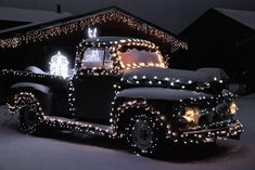 old truck in Christmas lights My Favorite Outdoor Christmas Photos II Christmas Lights Photoshoot, Hanging Christmas Lights, Outdoor Christmas Decorations, Holiday Lights, Christmas Truck, Christmas Love, Christmas Pictures, Vintage Christmas, Christmas Holidays