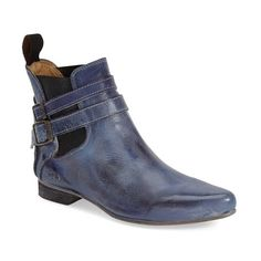 Bed Stu 'Ravine' Chelsea Boot ($145) ❤ liked on Polyvore featuring shoes, boots, ankle booties, ankle boots, steel blue rustic leather, strappy booties, pointed toe booties, strappy ankle boots and leather ankle boots