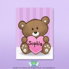 Personalized Teddy Bear & Heart print - nursery or kids room wall art - 5x7 Custom colors