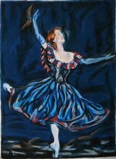 Buy Dance blue, Pastel drawing by Anna  Sasim on Artfinder. Discover original art for sale, paintings, prints from independent artists. #ballerina #dancer Soft pastel art on Pastelmat paper, woman drawing, woman paintings.