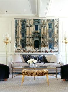 Living room, fantastic architectural picture above couch