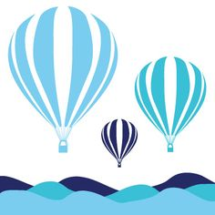 hot air balloons - Canvas Wall Art :: Things That Go Kids Prints, Wall Prints, Nursery Wall Art, Canvas Wall Art, Balloon Illustration, Green Wall Art, Modern Artwork, Baby Shower Balloons, Modern Kids