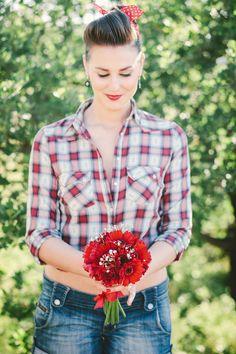 rockabilly themed engagement shoot with red bouquet #rockabilly #bouquet #weddingchicks http://www.weddingchicks.com/2014/01/22/rockabilly-wedding-ideas/