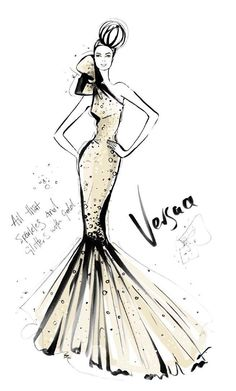 Megan Hess's Versace Couture Fashion Illustration This giclee is printed on Canson Arches Museum Velin, a deluxe heavy weight cream coloured, slightly textured, hand-moulded rag. Each print is hand signed by Megan Hess. Megan Hess Illustration, Fashion Illustration Sketches, Illustration Mode, Fashion Design Sketches, Couture Mode, Couture Fashion, Fashion Prints, Fashion Art, Dress Fashion
