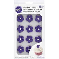 Purple Posy Royal Icing Decorations