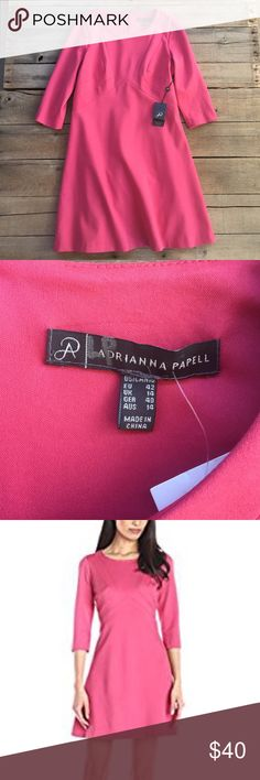 Adrianna Papell solid ponte a-line dress New with tags. Pretty pink color. Fully lined. 68% viscose 27% nylon 5% polyester. Total length measures 36 inches, armpit to armpit 18.5 inches Adrianna Papell Dresses