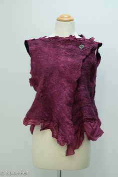 Awna Nunofelt Silk Merino Asymetrical Vest by kneek on Etsy Nuno Felting, Needle Felting, Vestidos Vintage, Refashion, Textiles, Wool Felt, Blouse Designs, Fashion Art, Soft Sculpture