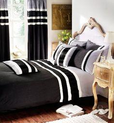 designer luxury striped bed quilt cover set duvet cover bedding black grey white silver