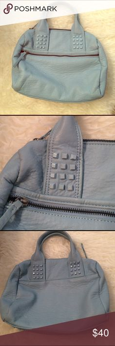 Adorable Zara Studded Bowling Bag In amazing condition with very little wear this blue bag is so cute for a night out or everyday use! Zips closed. Can be carried by handles or Crossbody strap. Roomy inside with pockets. Zara Bags