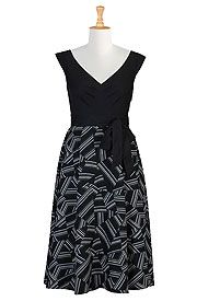 Geo print cotton poplin dress  on discounted price from eShakti.com. Use coupon and promo codes.