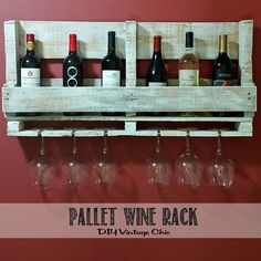 Could be adjusted for mor sophisticated tastes.  Sanded adn painted?  Cover Screws in front.  Nice idea. Pallet+Wine+Rack