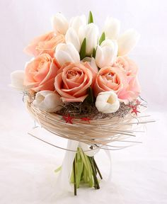 """""""Love Nest"""" is made of white tulips and Avalanche roses. White Tulips, Table Decorations, Weeding, Flowers, Fun, Roses, Tips, Easy, Clothes"""