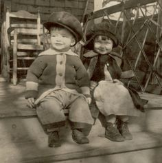 """Antique Photograph, Circa Poignant Vintage Photograph of Two Cute, Happy Toddlers, a boy and a girl, sitting on porch steps. These hats are funny!"""" For sale by ProfessorBooknoodl (Long Porch Step) Antique Photos, Vintage Pictures, Vintage Photographs, Vintage Images, Vintage Abbildungen, Vintage Beauty, Vintage Antiques, Time Pictures, Old Pictures"""