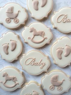 Elegant Gender Neutral Baby Shower Cookies - One Dozen Decorated Sugar Cookies by thesweetesttiers on Etsy https://www.etsy.com/listing/479634319/elegant-gender-neutral-baby-shower