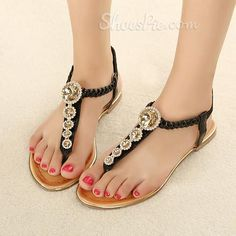ef7f9c6bbbc0a Lovely Bohemian PU Upper Flat Heels Women Sandals with Rhinestones Cheap  Shoes Online