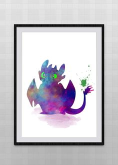 How to train your dragon watercolor illustrations art children's room wall hanging nursery room home decor