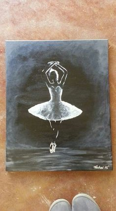 Inspired by the discipline and beauty of ballet. Painted from  old monochrome photo in acrylic. For sale in South Africa, with the possibility of added postage if bought internationally.  A2 R700/$350.