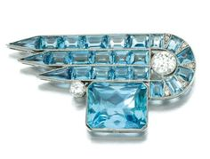 CGM Findings - Aquamarine and Diamond Brooch c. 1925