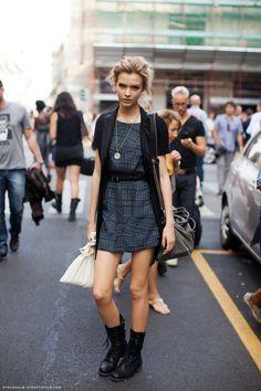 brills dress. #JosephineSkriver #offduty in NYC.