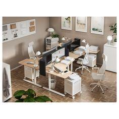 BEKANT Corner desk right sit/stand - white stained oak veneer white - IKEA Office Space Design, Office Interior Design, Home Office Decor, Office Interiors, Office Furniture, Ikea Office, Pipe Furniture, Furniture Vintage, Home Decor